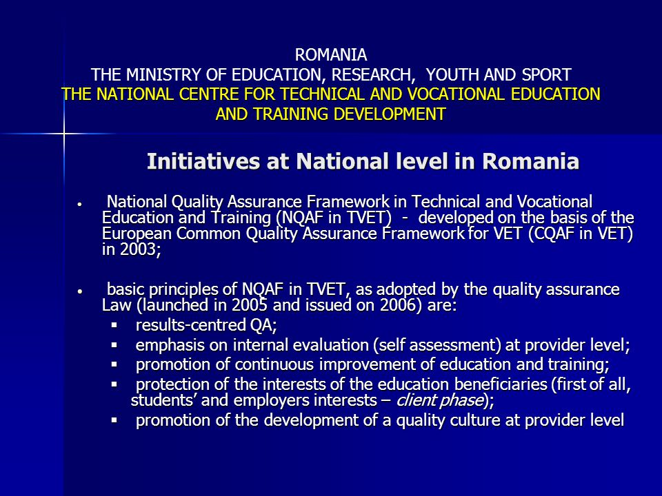 Initiatives at National level in Romania