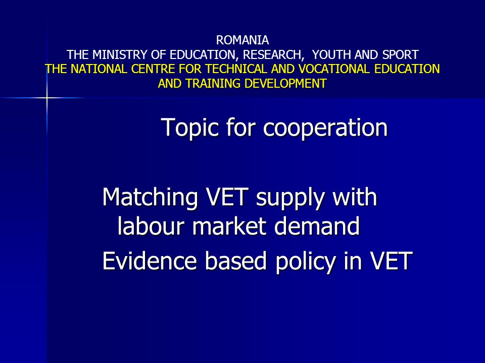 Matching VET supply with labour market demand