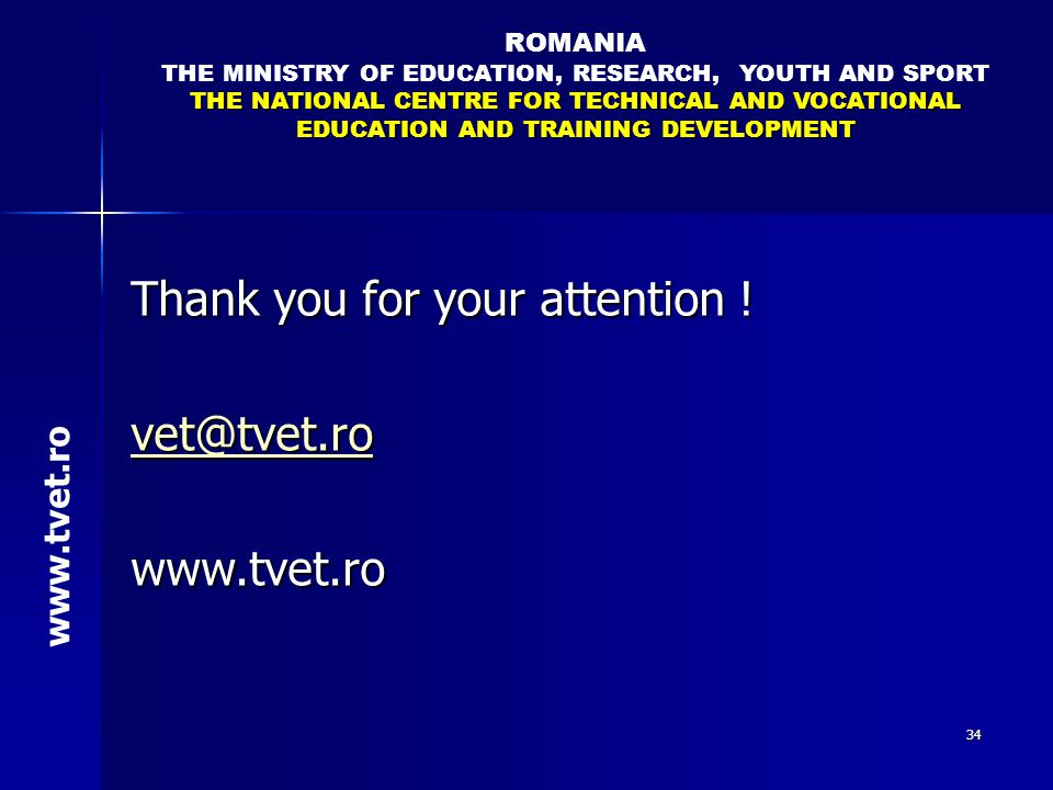 THE MINISTRY OF EDUCATION, RESEARCH, YOUTH AND SPORT