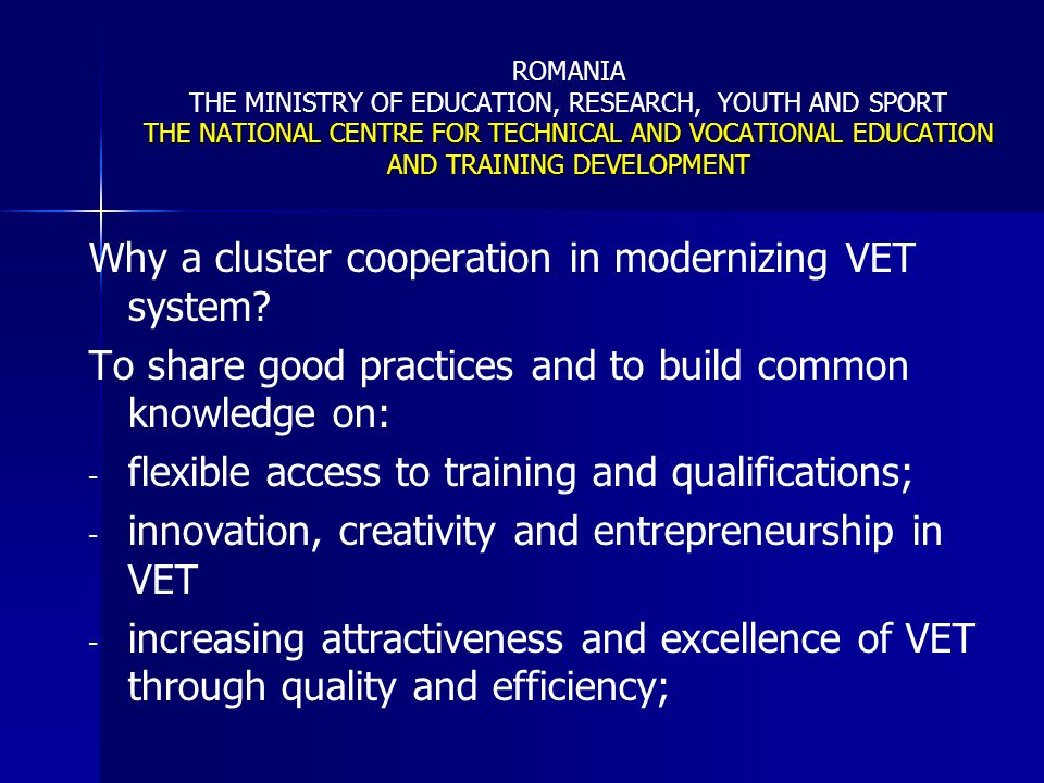 Why a cluster cooperation in modernizing VET system