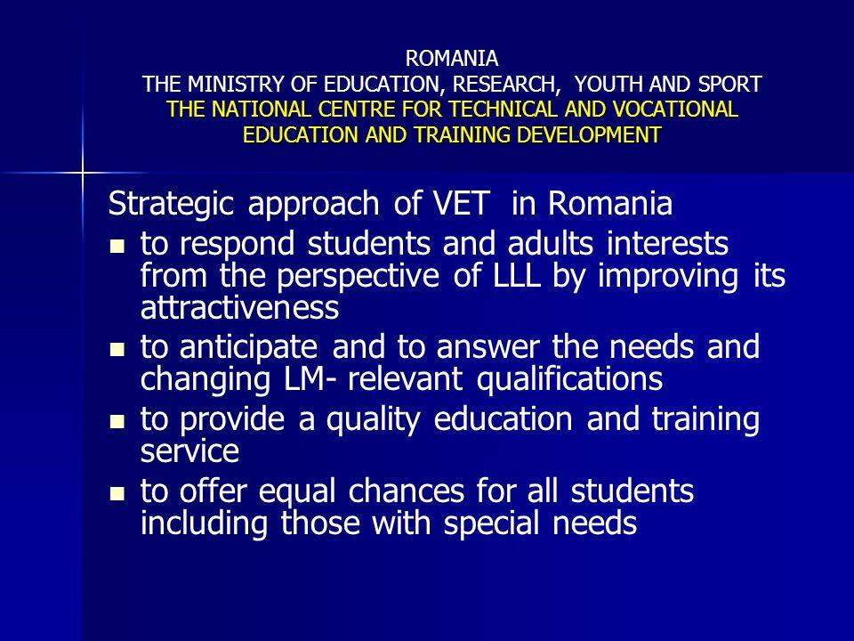 Strategic approach of VET in Romania
