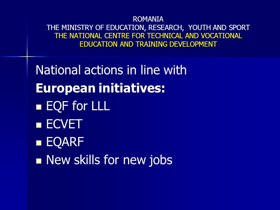 National actions in line with European initiatives: EQF for LLL ECVET