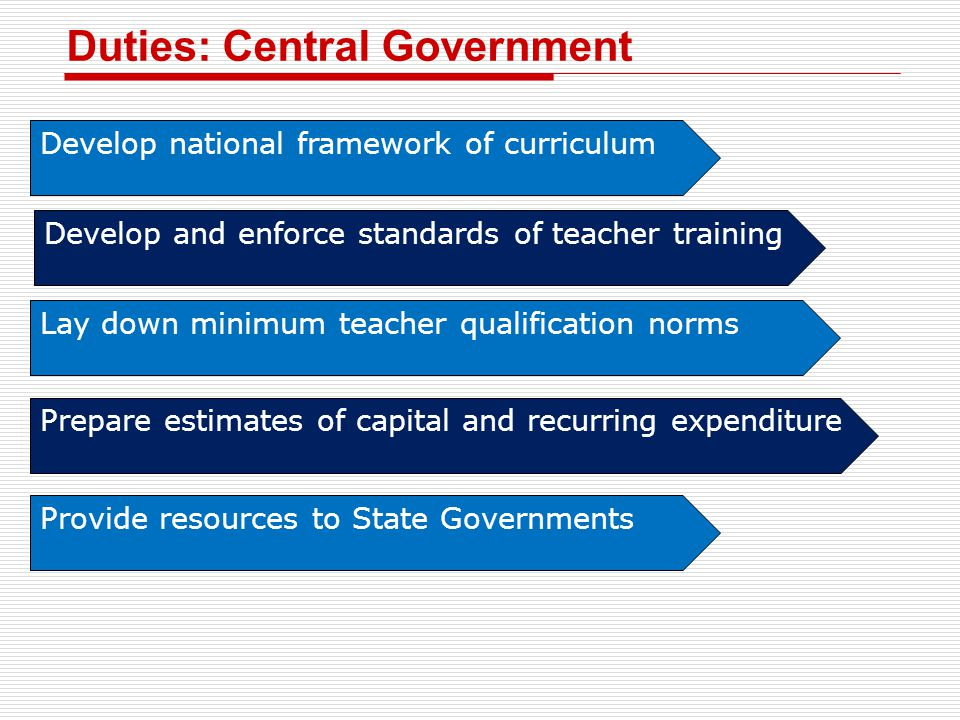 Duties: Central Government