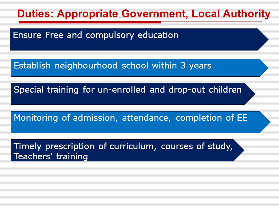 Duties: Appropriate Government, Local Authority