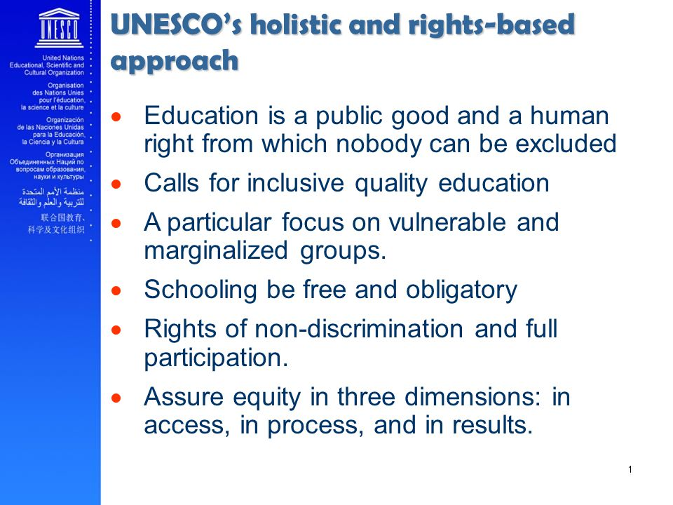 UNESCO's holistic and rights-based approach