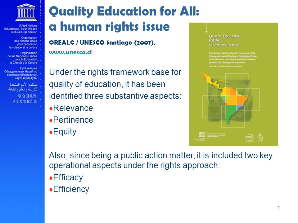 Quality Education for All: a human rights issue