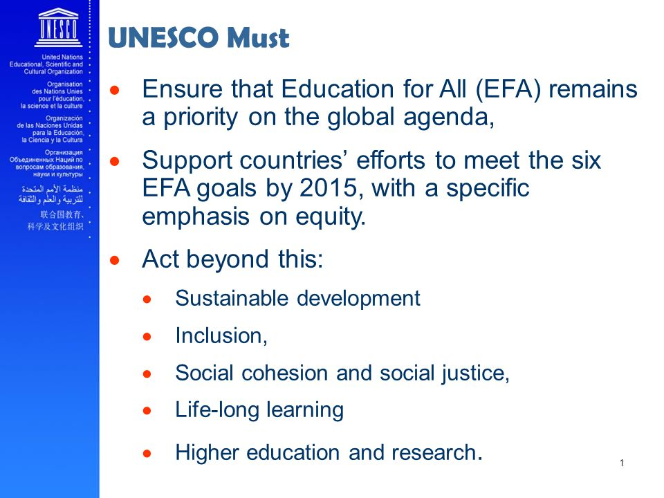 UNESCO Must Ensure that Education for All (EFA) remains a priority on the global agenda,