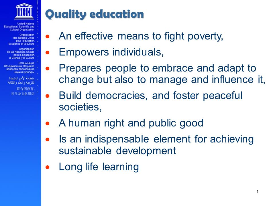 Quality education An effective means to fight poverty,