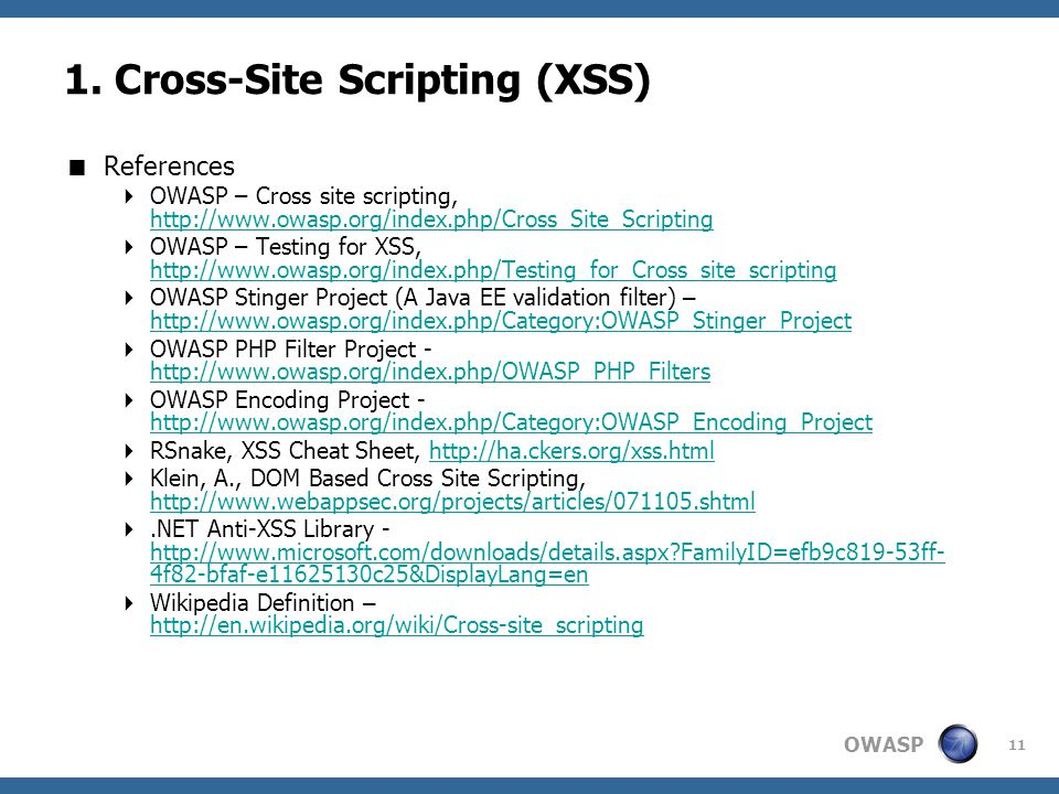 1. Cross-Site Scripting (XSS)