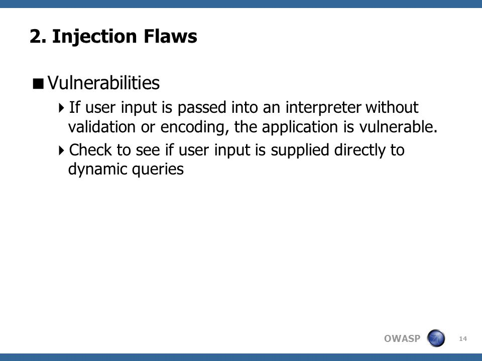 2. Injection Flaws Vulnerabilities