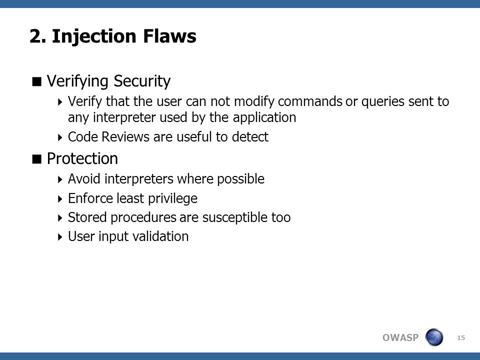2. Injection Flaws Verifying Security Protection