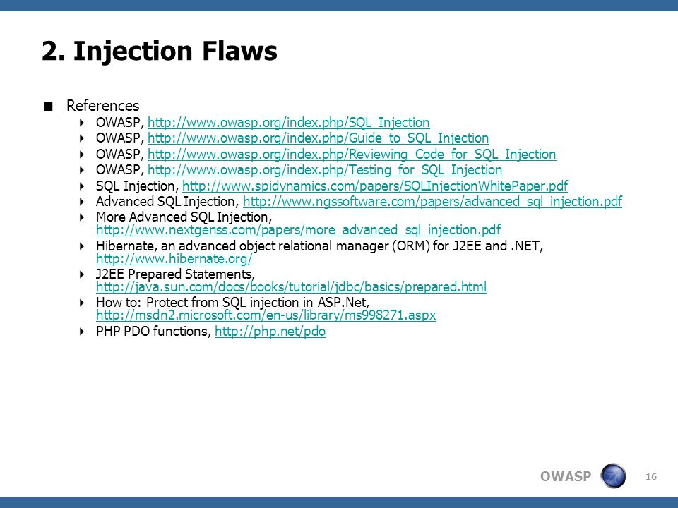 2. Injection Flaws References