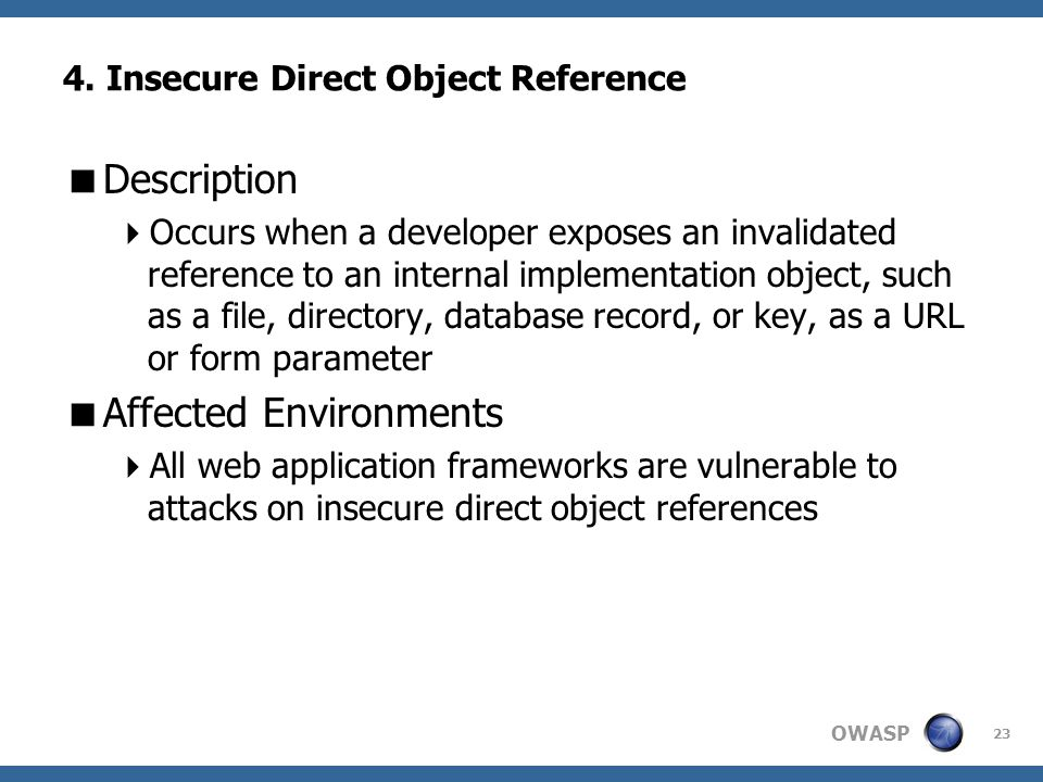 4. Insecure Direct Object Reference