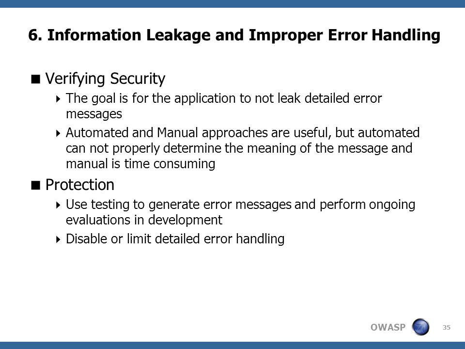 6. Information Leakage and Improper Error Handling