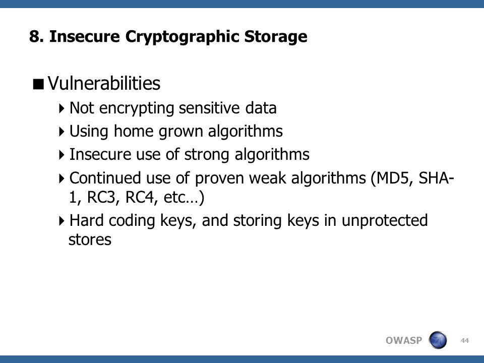 8. Insecure Cryptographic Storage