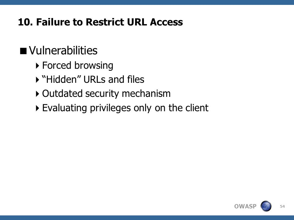 10. Failure to Restrict URL Access