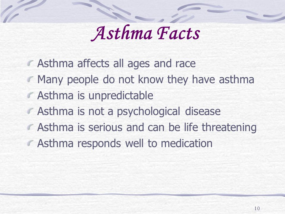 Asthma Facts Asthma affects all ages and race