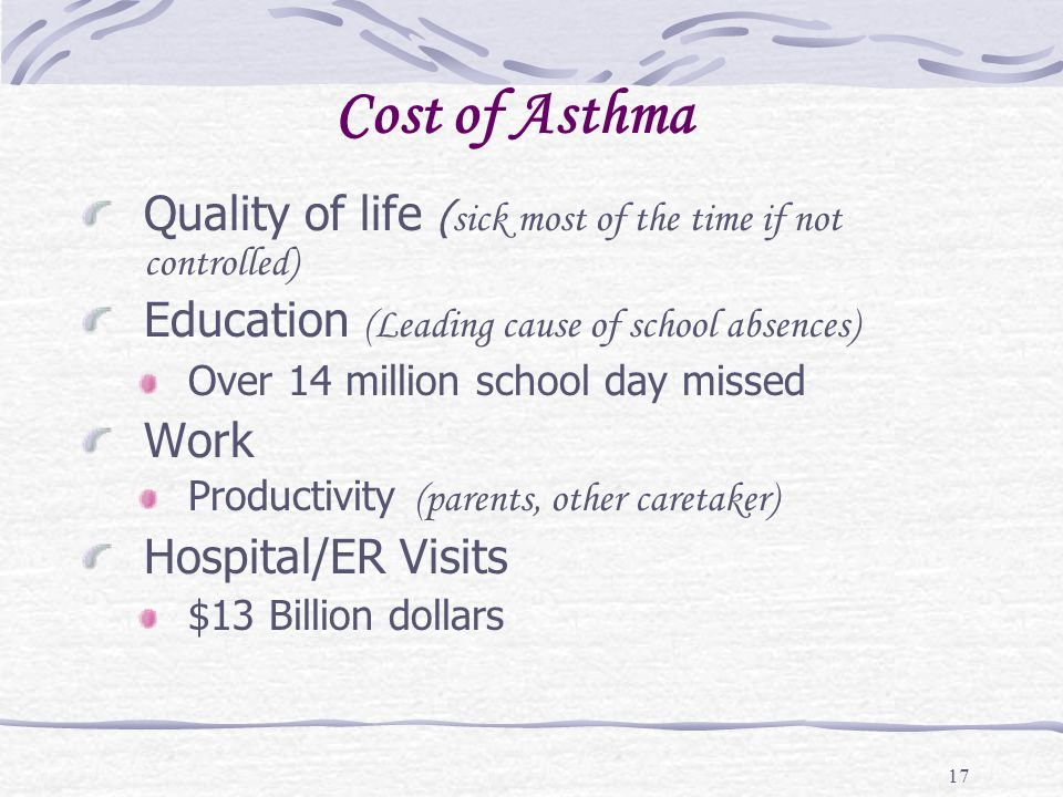 Cost of Asthma Quality of life (sick most of the time if not controlled) Education (Leading cause of school absences)