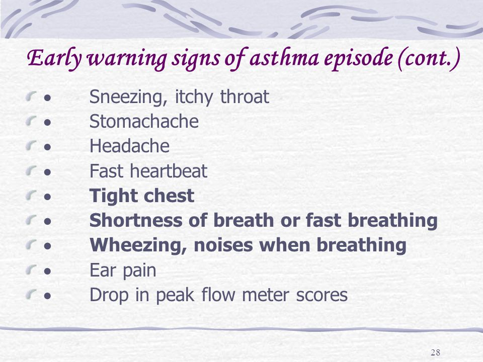 Early warning signs of asthma episode (cont.)