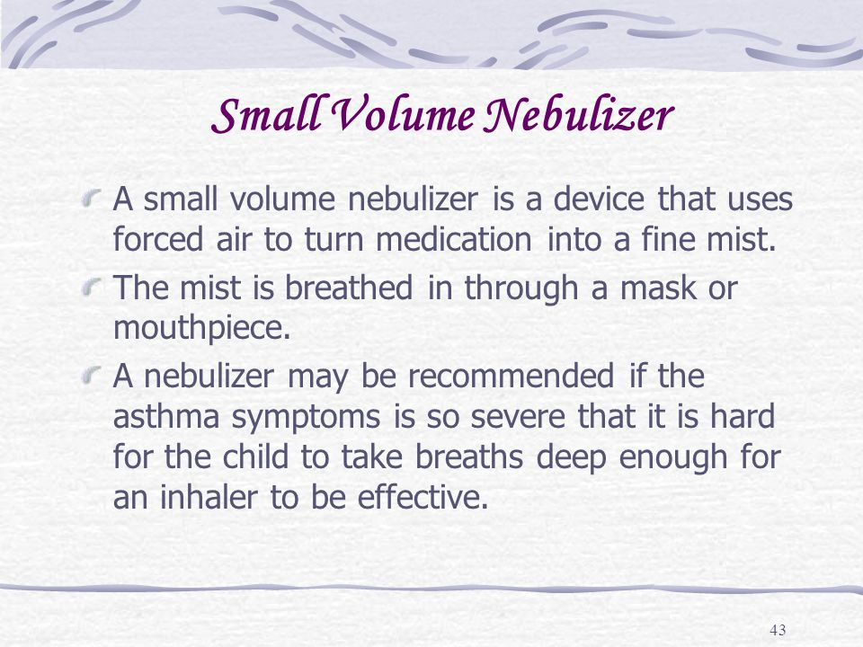 Small Volume Nebulizer