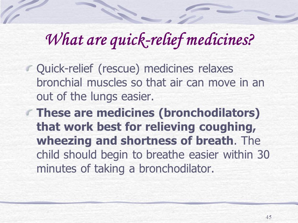 What are quick-relief medicines
