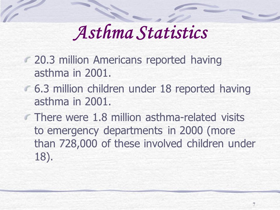 Asthma Statistics 20.3 million Americans reported having asthma in 2001. 6.3 million children under 18 reported having asthma in 2001.