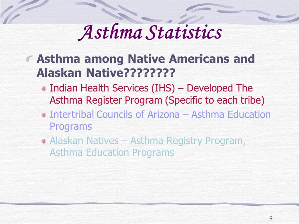 Asthma Statistics Asthma among Native Americans and Alaskan Native