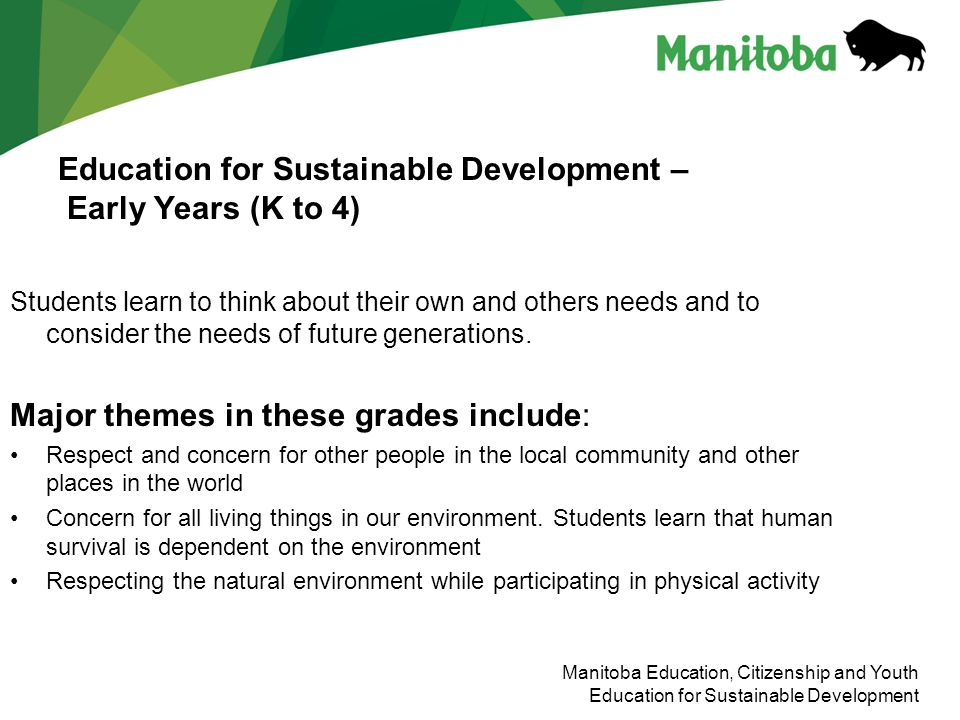 Education for Sustainable Development – Early Years (K to 4)
