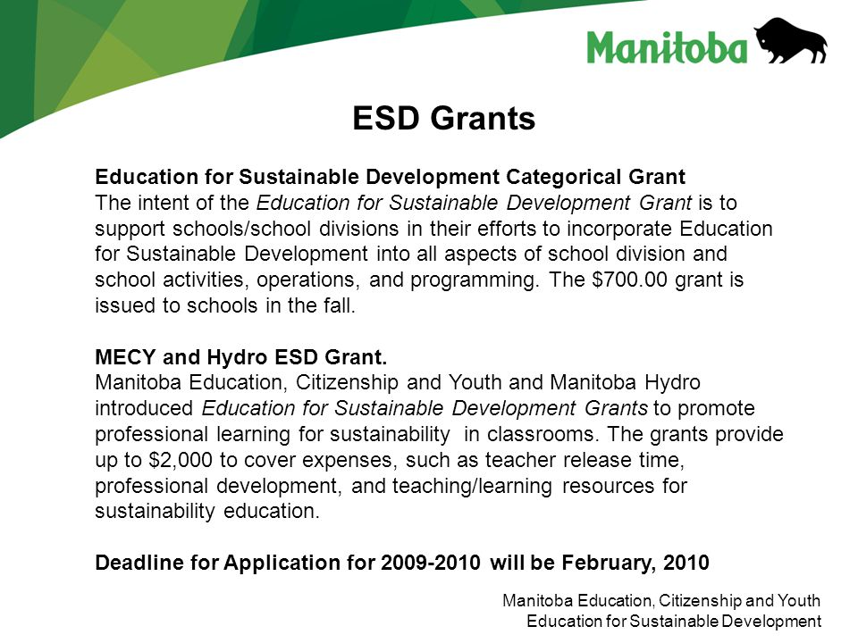 Education for Sustainable Development Categorical Grant