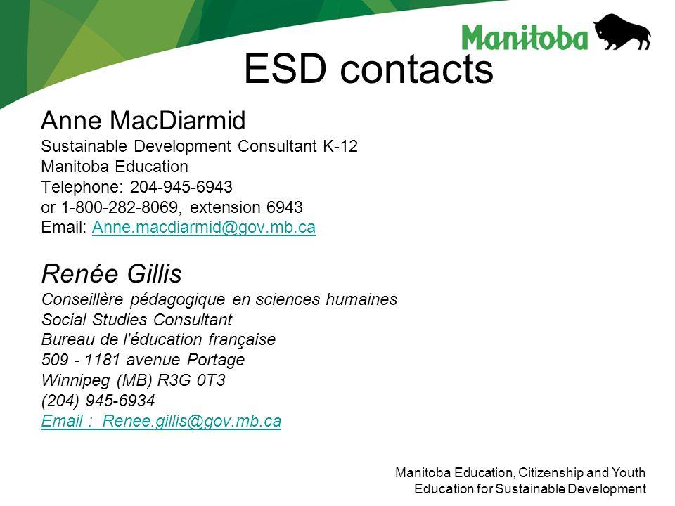 ESD contacts Anne MacDiarmid Renée Gillis