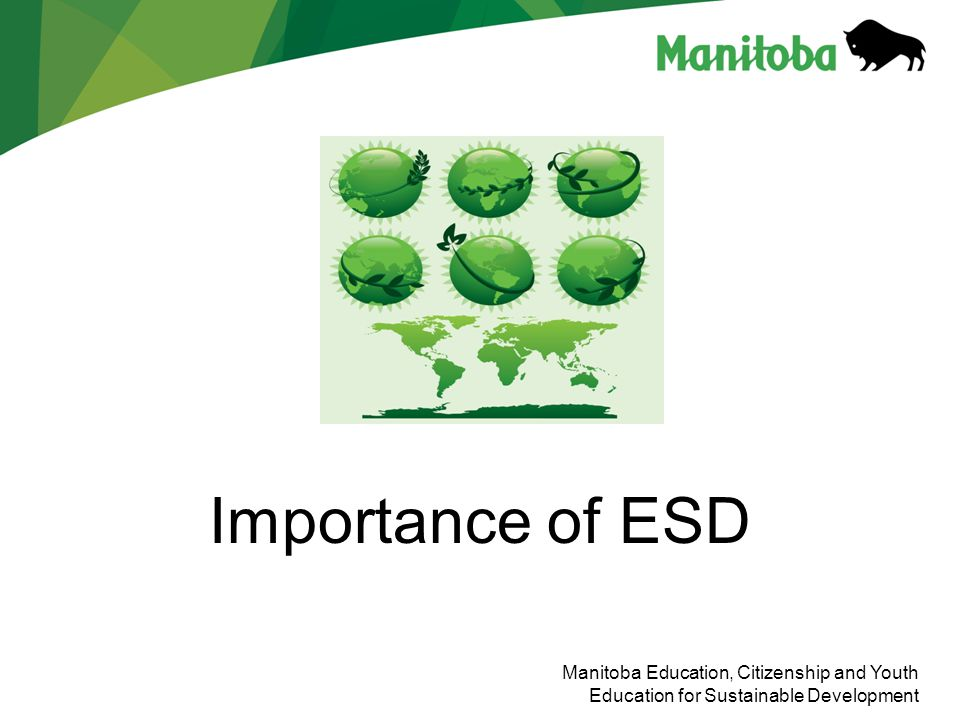 Importance of ESD Manitoba Education, Citizenship and Youth