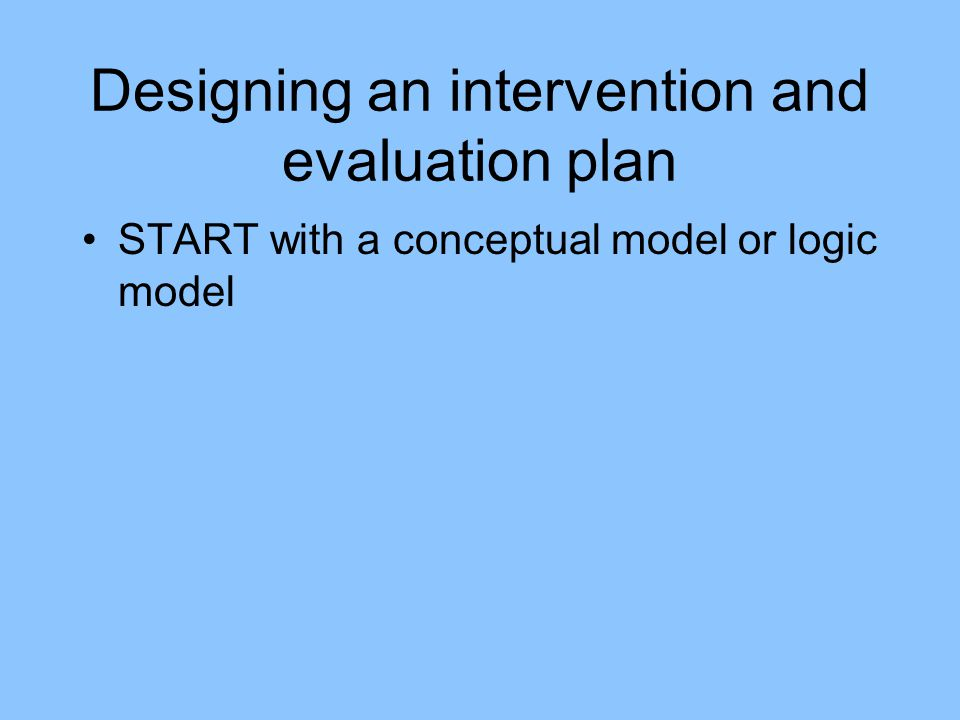 Designing an intervention and evaluation plan