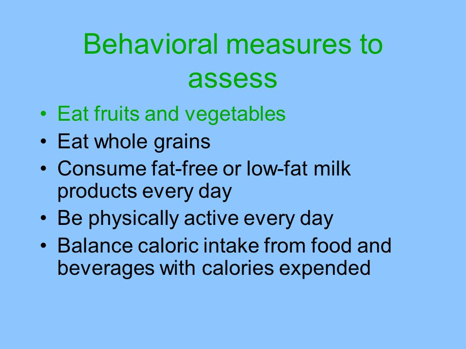 Behavioral measures to assess