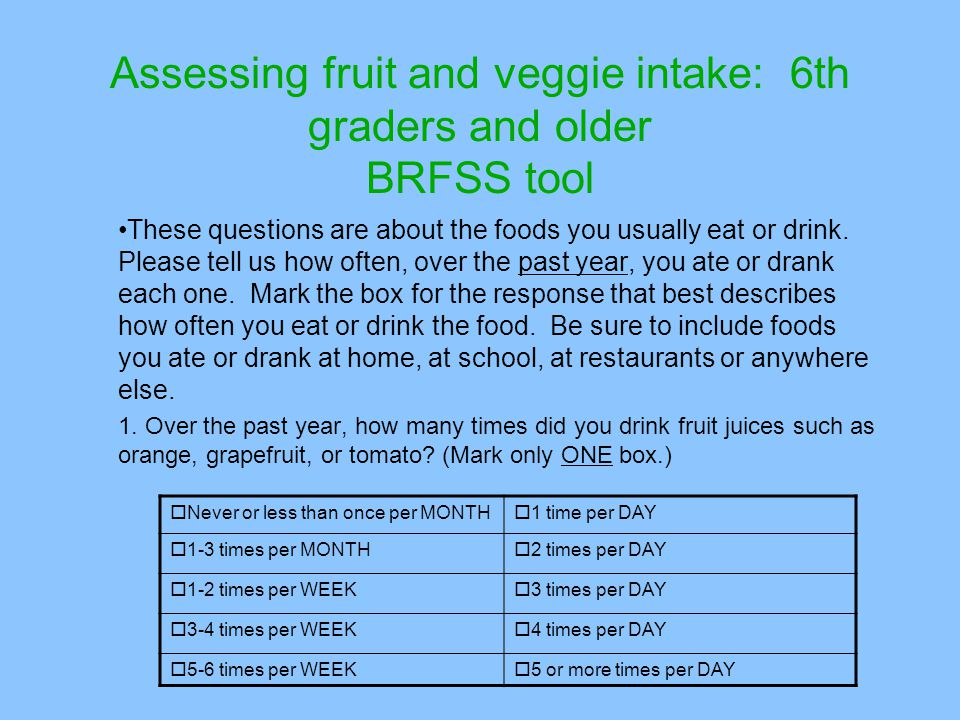 Assessing fruit and veggie intake: 6th graders and older BRFSS tool