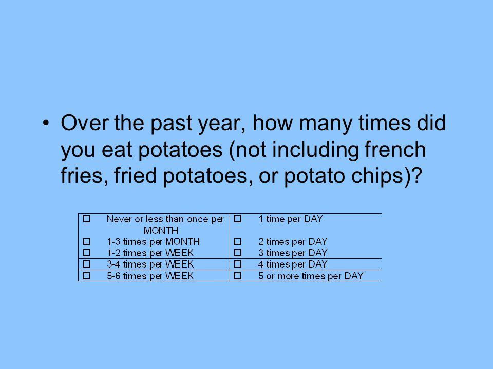 Over the past year, how many times did you eat potatoes (not including french fries, fried potatoes, or potato chips)