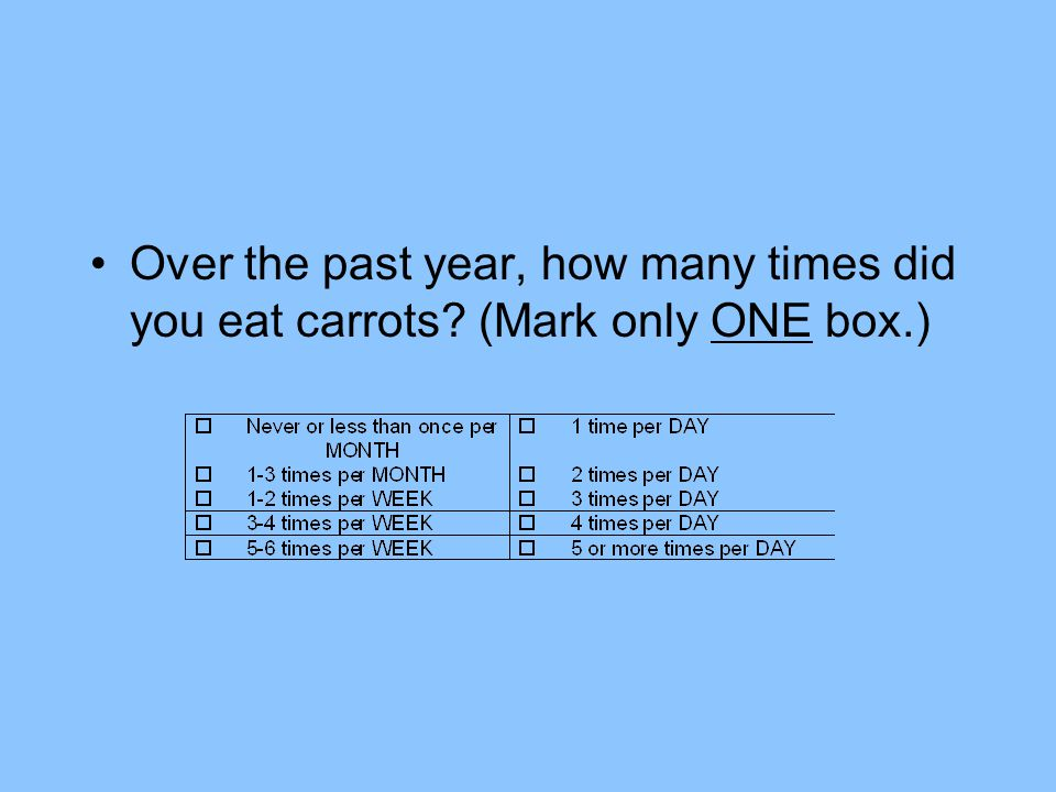 Over the past year, how many times did you eat carrots