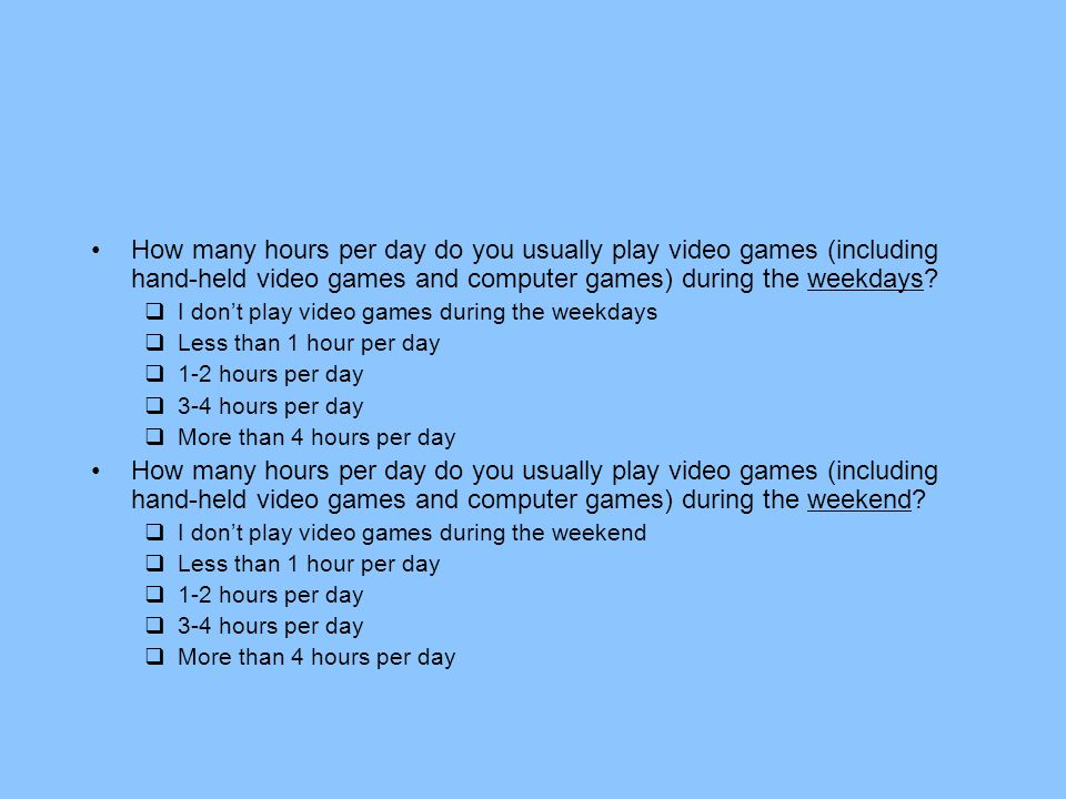 How many hours per day do you usually play video games (including hand-held video games and computer games) during the weekdays