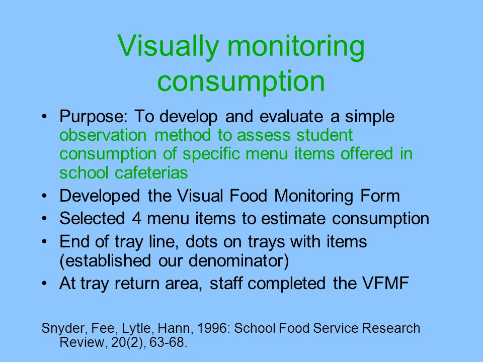 Visually monitoring consumption