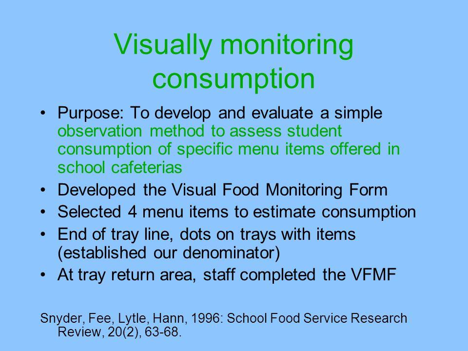 Visually monitoring consumption