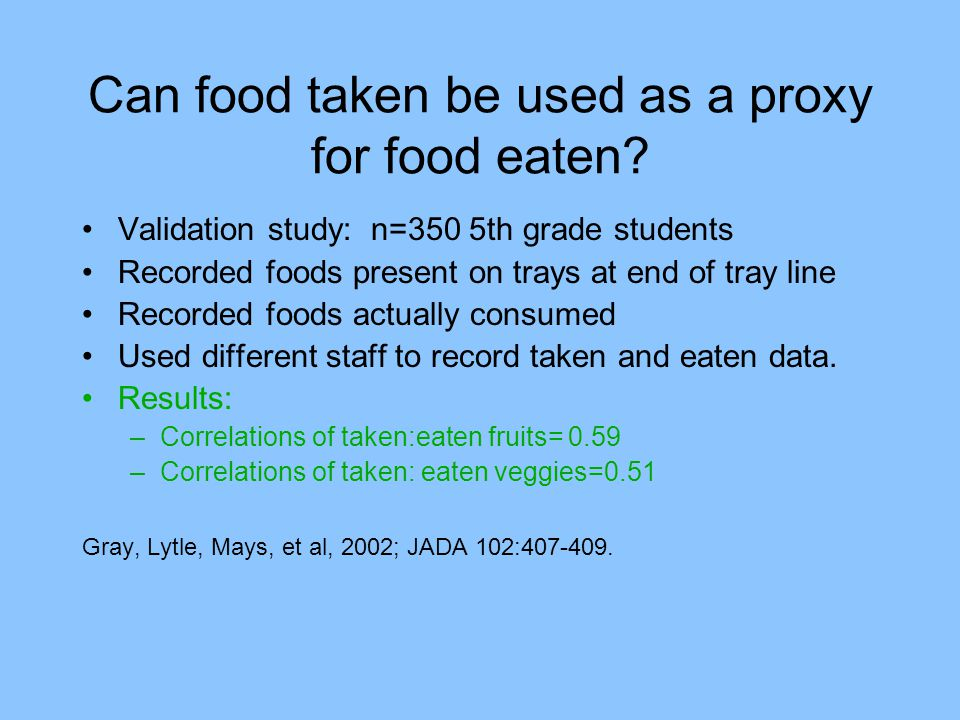 Can food taken be used as a proxy for food eaten