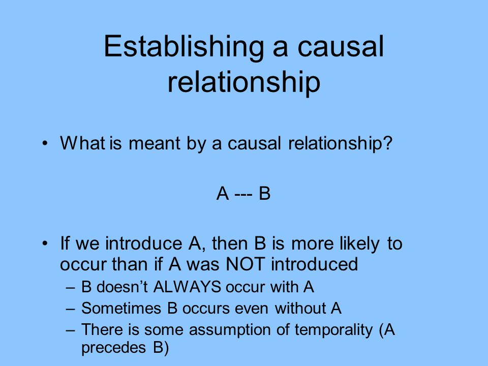 Establishing a causal relationship