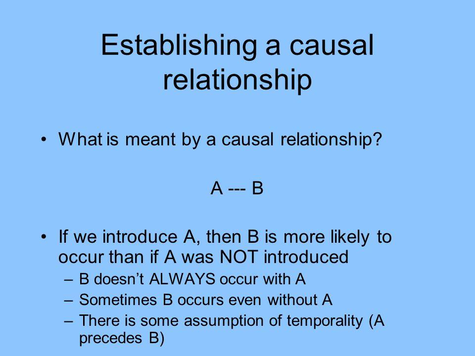 Establishing a causal relationship