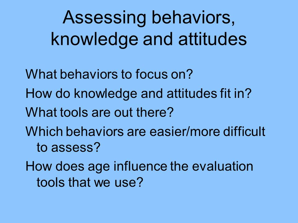 Assessing behaviors, knowledge and attitudes