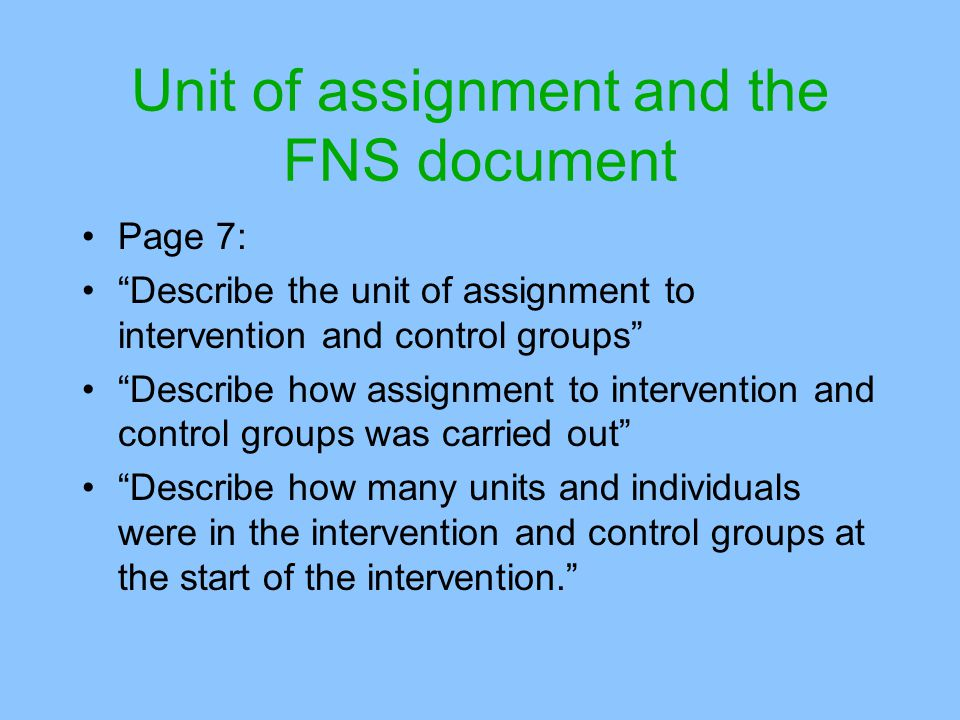 Unit of assignment and the FNS document