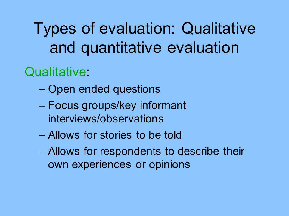Types of evaluation: Qualitative and quantitative evaluation
