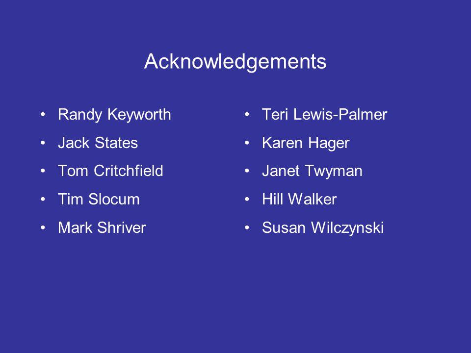 Acknowledgements Randy Keyworth Jack States Tom Critchfield Tim Slocum
