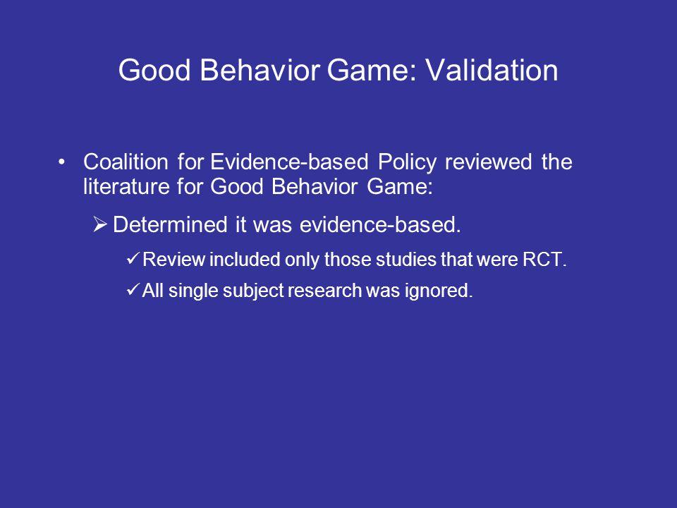 Good Behavior Game: Validation