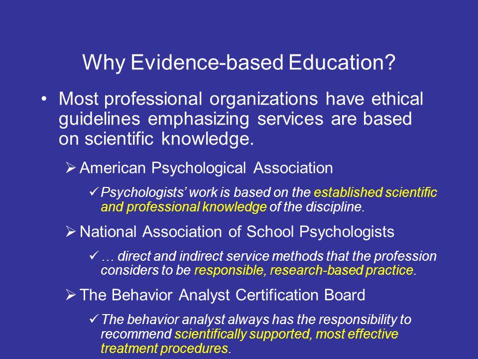 Why Evidence-based Education