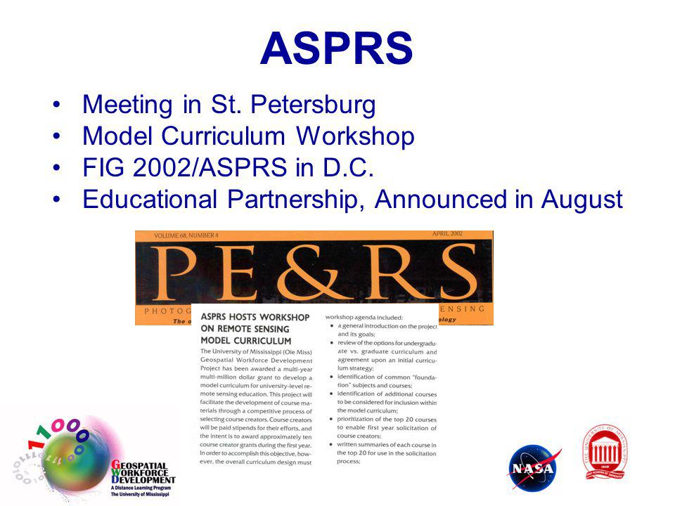 ASPRS Meeting in St. Petersburg Model Curriculum Workshop