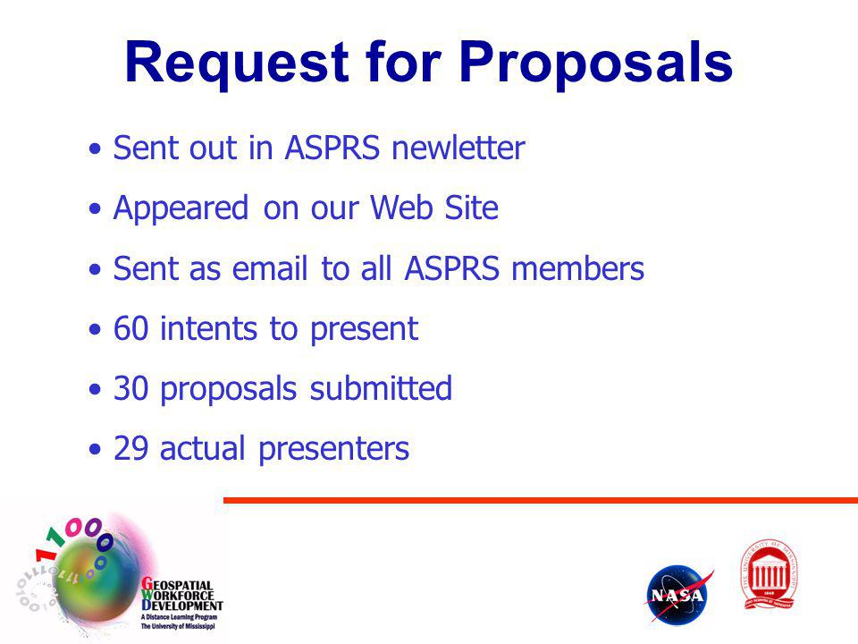 Request for Proposals Sent out in ASPRS newletter
